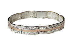 Женские серебряные браслеты с золотыми пластинами