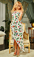 """Женское длинное платье """"Альберта"""" (цветы и попугаи на белом фоне)"""