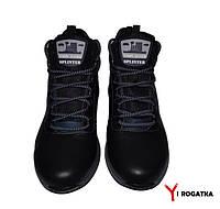 Мужские зимние кожаные ботинки, SPLINTER, черные, прошитые, с синей вставко