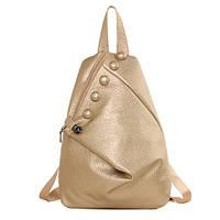 Женский городской рюкзак черного, розового, золотого и серого цвета.