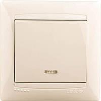 Выключатель LEMANSO Сакура  1-й + LED подсветка   крем
