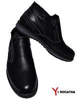 Мужские зимние кожаные ботинки, KONORS, черные, на две змейки, низкие
