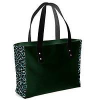 Сумка женская большая классическая зеленая леопард  вставки