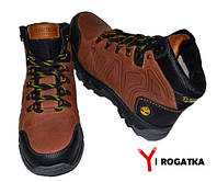 Мужские зимние нубуковые ботинки,Timberland, коричневые, на пятке желтая резинка