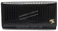 Стильный кожаный лаковый женский кошелек черного цвета art.B9010A