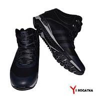 Мужские зимние кожаные ботинки, KONORS, черные с серыми полосками на пятке