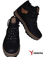 Мужские зимние кожаные ботинки, SPLINTER, черные, прошитые светлая подошва