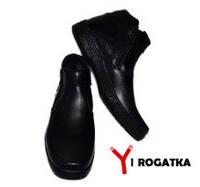 Мужские зимние кожаные ботинки, KONORS, черные прошитые на две змейки