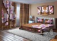 """Фото Комплект для спальні """"Орхідеї і дерево"""" Штори (2,50*2,60), Покривало (2,0*1,50). Читаємо опис!"""