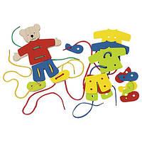 Шнуровка Медведь с одеждой Goki, детская развивающая игра шнуровка