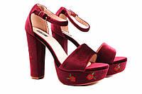 Стильные босоножки женские VICES бархат, цвет бордо (каблук, Польша)