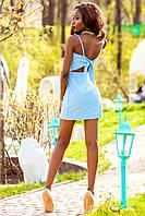 Соблазнительное Короткое Платье с Бантом на Спине Голубое