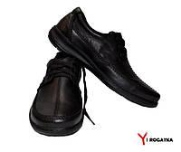 Мужские кожаные туфли черные комфорт на шнурке