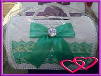 """Свадебные сундуки для денег """"Кружево"""" Зеленый"""
