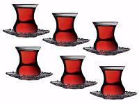 Стакан с блюдцем для чая 12пр. Pasabahce Аврора 95961