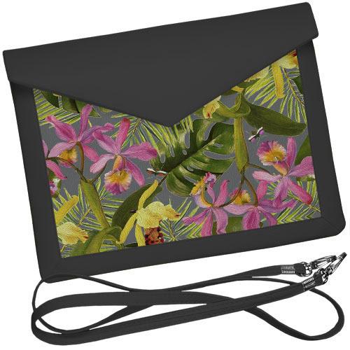 Серый клатч конверт с принтом Орхидея