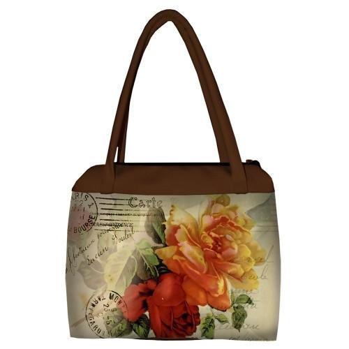 Большая женская сумка Сатчел с принтом Букет цветов