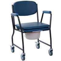 Стул-туалет на колесах с мягким сиденьем OSD-MOD-WAVE, Стул-туалет для инвалидов на колесах