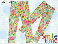 Брюки для девочки стрейч-коттон р.110 SmileTime, цветочные, фото 1