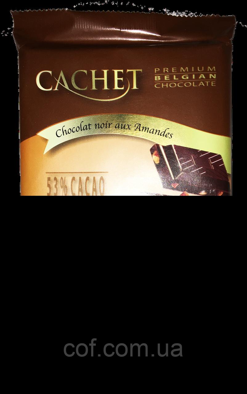 Шоколад черный Cachet Dark Chocolate with Almonds (с миндалем) 300г (Бельгия)