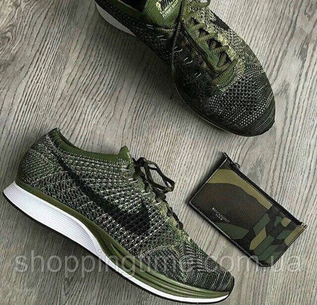 san francisco a8676 6f77f Кроссовки мужские Nike Flyknit Racer Rough Green -