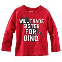 Детский трикотажный красный реглан с динозавром Ош Кош  для мальчика