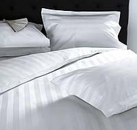 Полуторное постельное белье с простыней на резинке 90/200/25 Страйп-сатин белый 2/2см, 100%хлопок