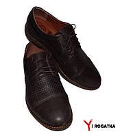 Мужские кожаные туфли KRISTAL коричневые, шнурок, каблук,