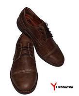 Мужские кожаные туфли KRISTAL цвет орех, шнурок, каблук,