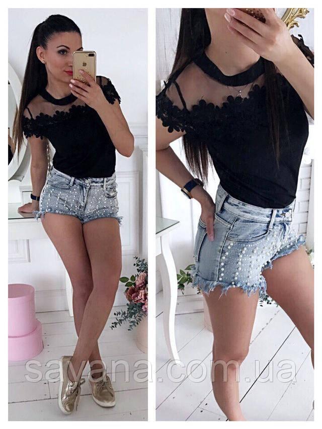 Женская симпатичная блуза с кружевом