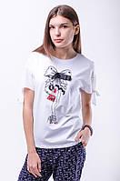 Модная женская футболка с рисунком, аппликацией бант и стразы, рукав из шифона