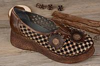 Кожаные туфли на высокой платформе коричневые летние