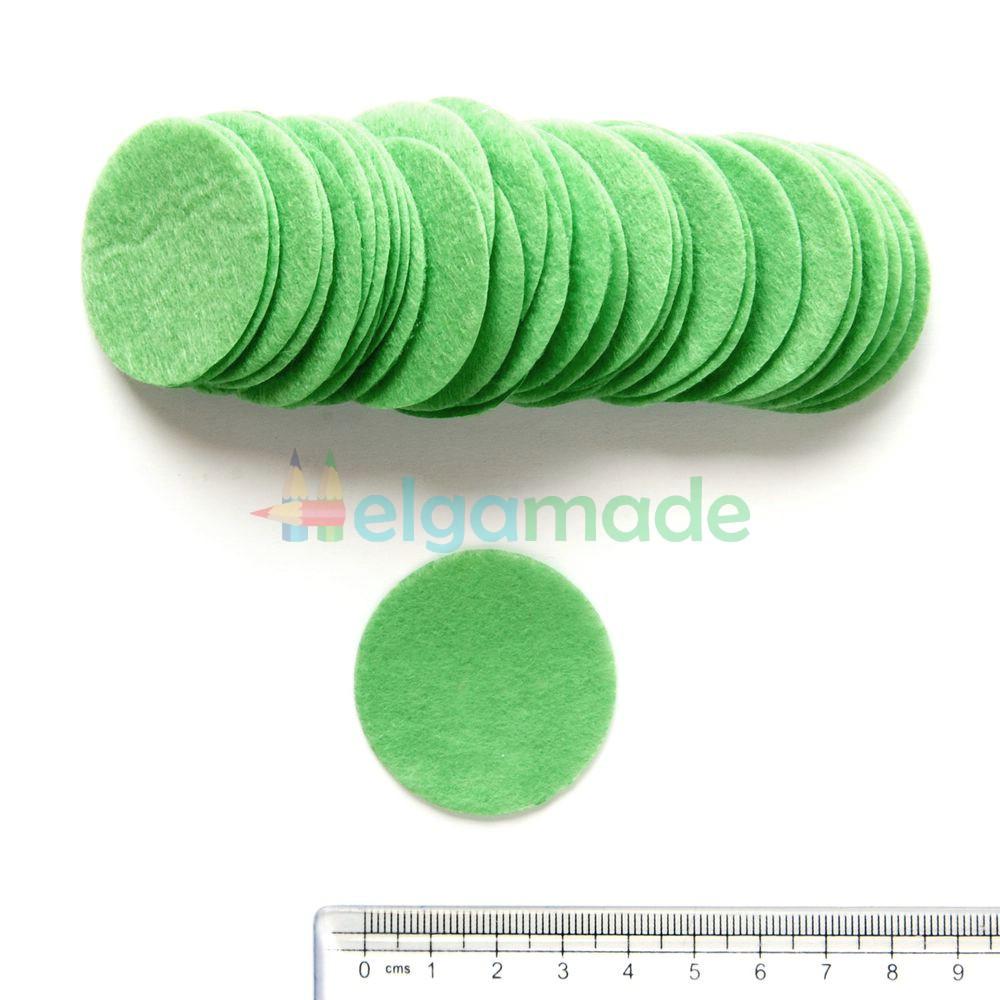 Круги из фетра, СВЕТЛО-ЗЕЛЕНЫЙ, 40 мм, 0.5 мм, 100 шт