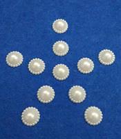 Полужемчуг (бусинка половинка) ажурная 16 мм белая перламутровая, 5 шт./уп.