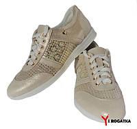 Женские кожаные спортивные туфли, бежевые с золотом, перфорация