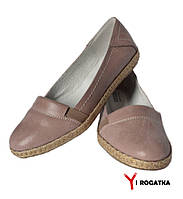 Женские кожаные туфли-балетки, цвет пудра, кожаная подкладка