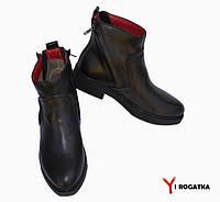 Женские кожаные ботинки, черные, демисезонные, по бока две змейки наискосок
