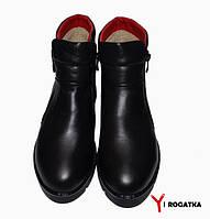 Женские кожаные зимние ботинки,PAV, черные, на две змейки, пятка лаковая кожа