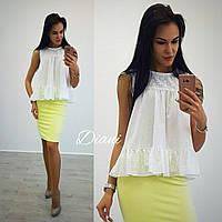 Красивая и стильная блуза, топ из хлопка белого цвета