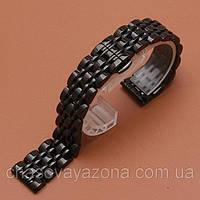 Браслет для часов из нержавеющей стали, литой, черный, полированный. 20-й размер.