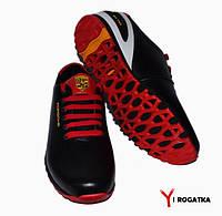 Подростковые кожаные кроссовки черные с красными и белыми вставками