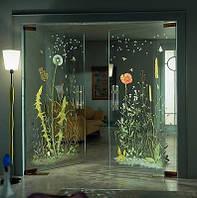 Стеклянные двери с рисунком без коробки маятниковые