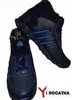 Мужские кожаные ботинки великаны, Big Boss, темно синие  48