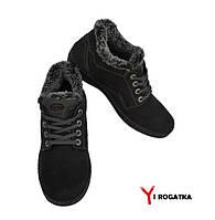 Мужские зимние нубуковык ботинки, MISHEL, черные, серый шнурок