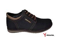 Мужские зимние нубуковык ботинки, MISHEL, черные с коричневыми вставками