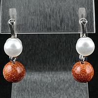 Авантюрин золотой песок и жемчуг, серебро, серьги, 157СА