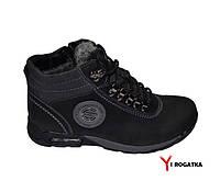 Мужские зимние нубуковык ботинки, MISHEL, черные, серый вставки из нубука, шнурок и змейка