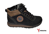 Мужские зимние нубуковык ботинки, MISHEL, черные, коричневые вставки из нубука, шнурок и змейка