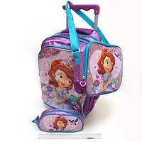 Набор детский чемодан - рюкзак на колесах + сумка + пенал Принцесса София, Sofia-2, 520342