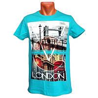 Мужская бирюзовая футболка London - №2227, Цвет голубой